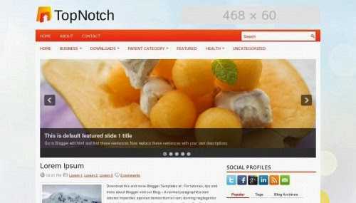 topnotch ads ready orange blogger template 2014 for blogger or blogspot