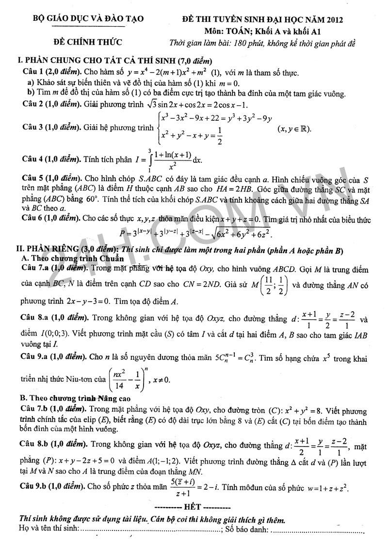Đáp án đề thi đại học môn toán 2012