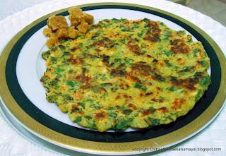 Kodi Pasalai Adai [ Spinach Pancake ]