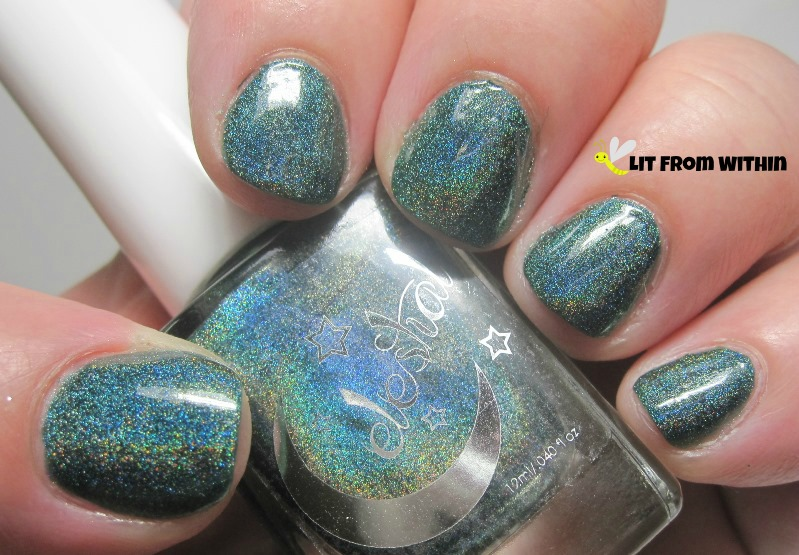 Celestial Cosmetics Galaxy Field, a deep emerald-tealish linear holo