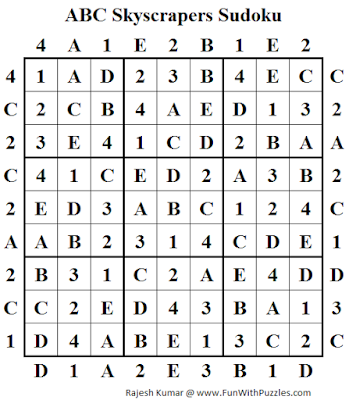 ABC Skyscrapers Sudoku (Daily Sudoku League #150) Answer