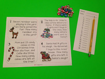 Christmas word problems for K-2 students FREEBIE