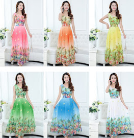 2017 Sleeveless 6-Cheerful Color Summer Floral Past Knee Length Chiffon Dress