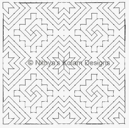4 Kolam 105: Lines Kolam 23 to 23 dots