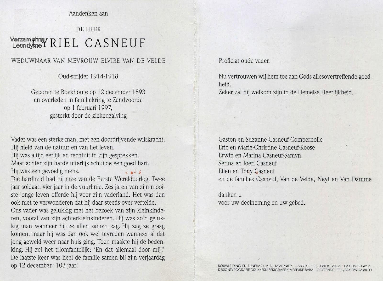 Bidprentje Cyriel Casneuf 1893-1997. Verzameling Leondyme