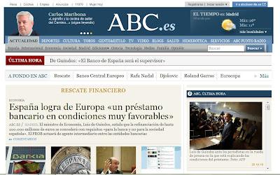 El diario ABC informa sobre el rescate a la banca española