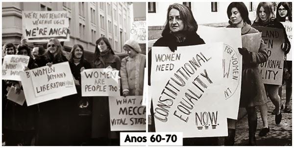 anos 60 protestos 70 feminismo feministas