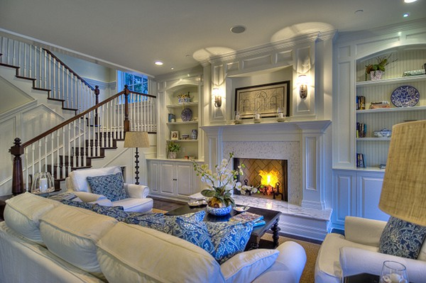 White And Blue Family Rooms