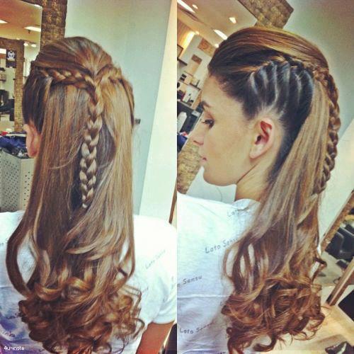 Прическа на распущенные волосы с плетением