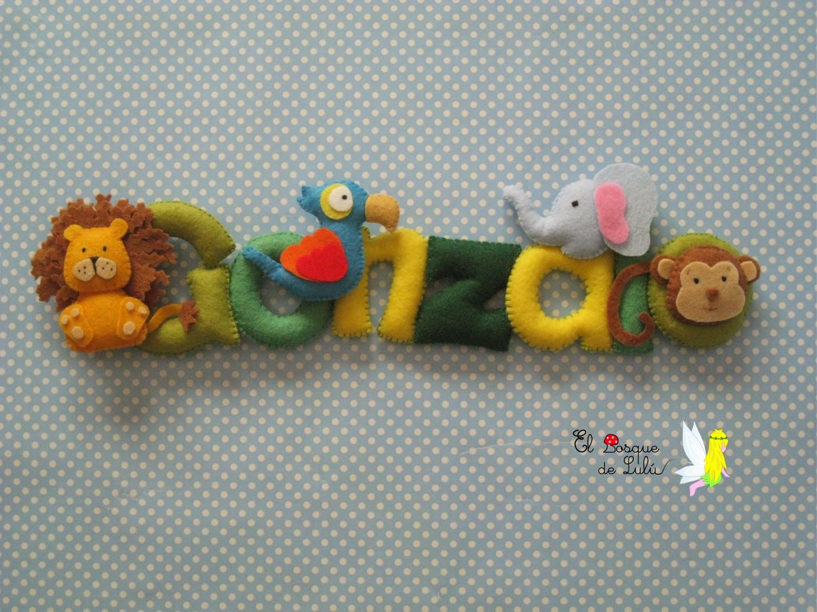 nombre-decorativo-fieltro-Gonzalo-animales-selva-decoración-infantil