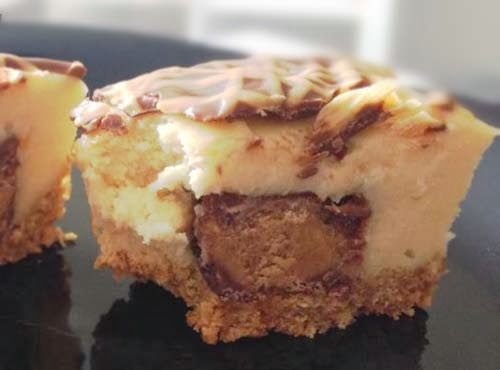 It's a Mini Reeses Peanut Butter Cup in a Cheesecake Cupcake. Yum!