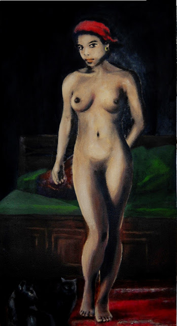 Fine Art Female Nude Standing, with Cats