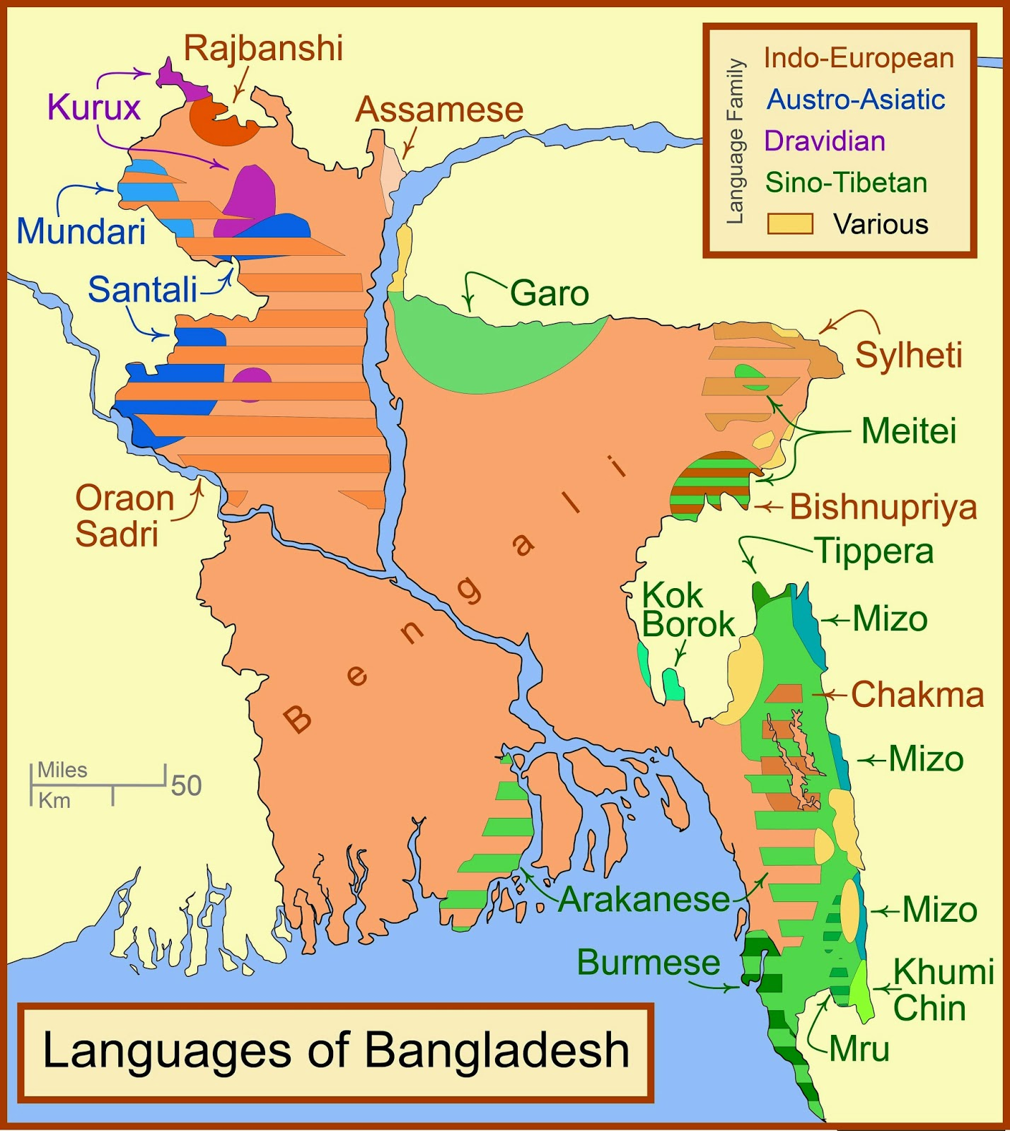 linguistic diversity in bangladesh source wikpedia commons