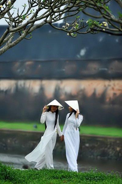 Vietnamese girls walking around Hue