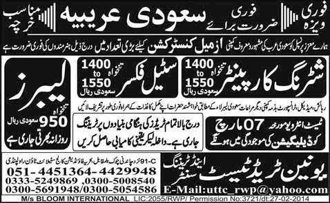 FIND JOBS IN PAKISTAN LABOURS STEEL FIXER JOBS IN PAKISTAN LATEST JOBS IN PAKISTAN