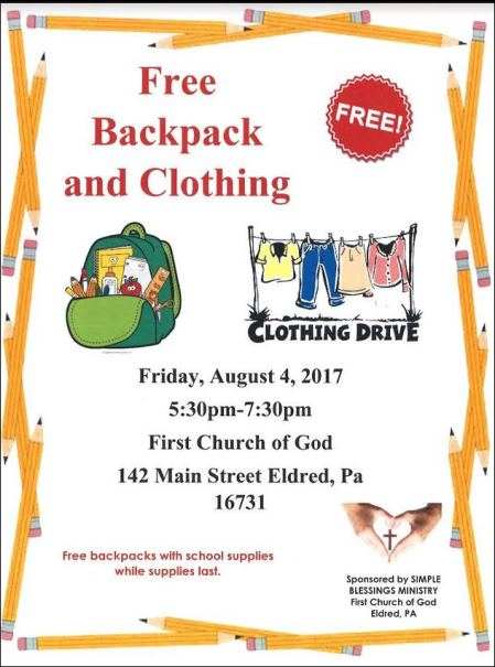 8-4 Free Backpack & Clothing