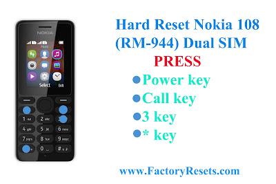 Hard Reset Nokia 108 (RM-944) Dual SIM