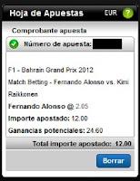 Apuestas Deportivas Rosberg Formula 1 – G. P. Bahrein Alonso vs Raikkonen Titanbet