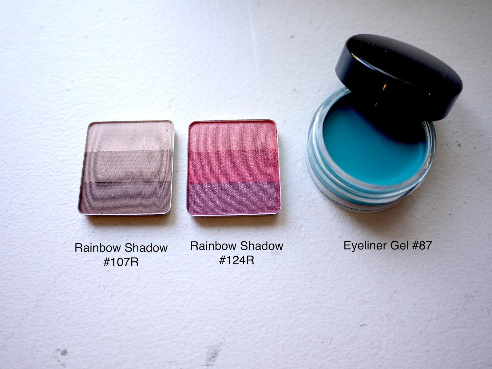 inglot rainbow shadow 107R 124R gel eyeliner 87 swatch