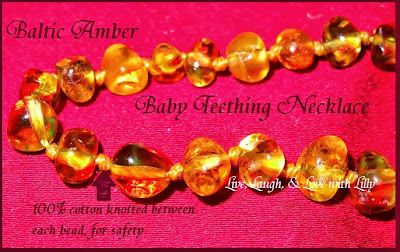 Live, Laugh, Love with Lilly, Amber Regina Review, Blatic Amber baby teething necklace