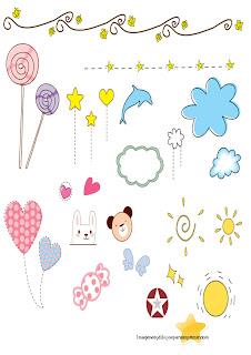 piruletas, soles, nubes,caramelos Dibujitos infantiles para imprimir
