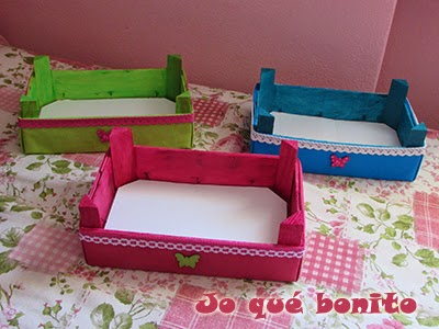 Cajas de fresas decoradas con telas