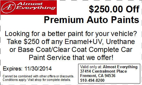 Discount Coupon $250 Off Premium Auto Paint Sale November 2014
