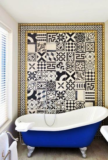 To da loos mix matched patchwork pattern tile bathrooms for Patterned bathroom wall tiles