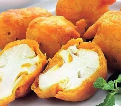 Цветная капуста в кляре с сыром и яйцом