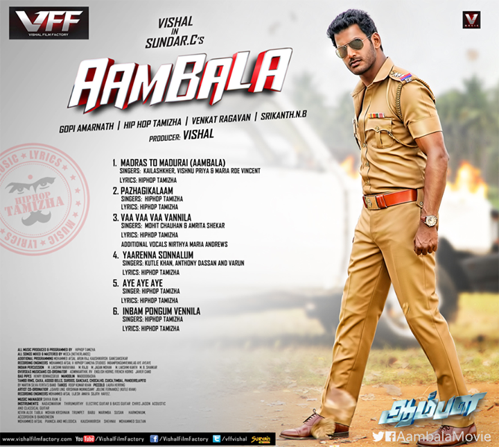AAmbala Tamil Movie Songs Track List Poster