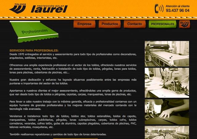 Diseño web toldos barcelona