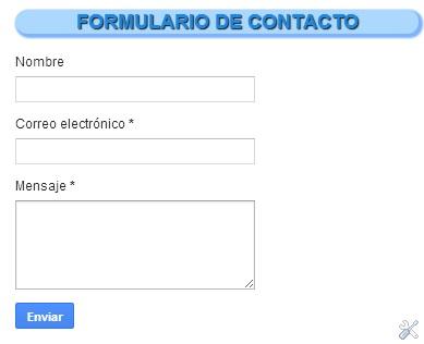 vista de formulario de contacto