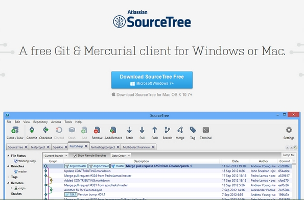 SoureTree Git client for Windows and Mac