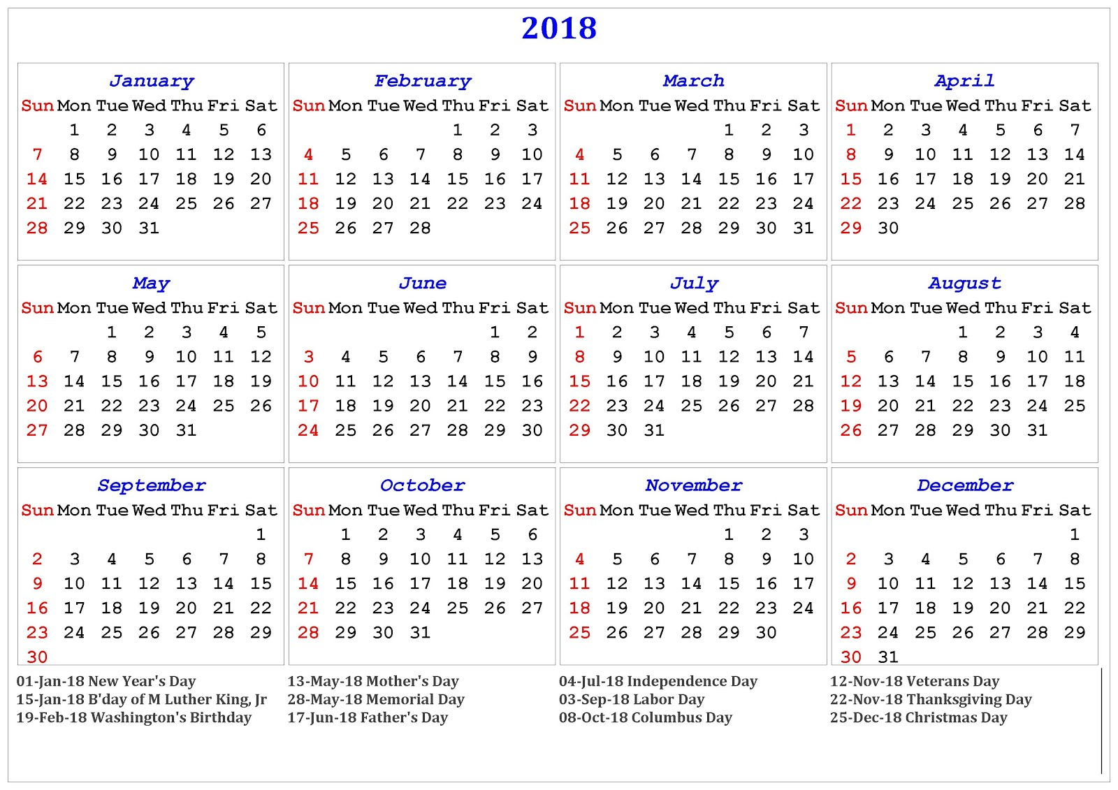 Calendar With N Holidays Pdf Free Download : Printable calendar blank