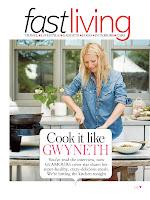 Gwyneth Paltrow in the kitchen preparing dinner