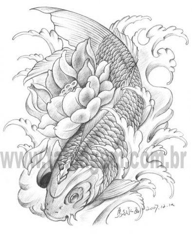 prince tattoo carpas com flores e fundos