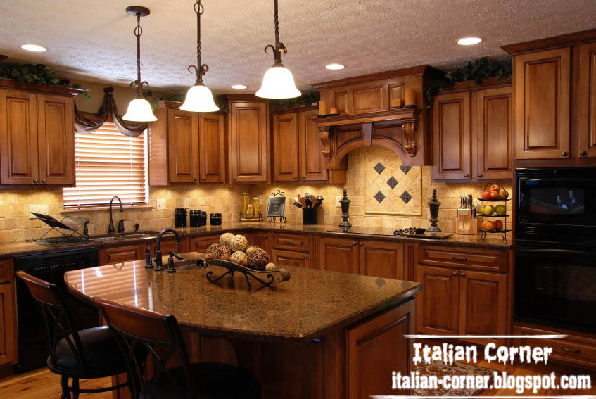 Luxury italian kitchen designs with wooden cabinets furniture for Tuscan style kitchen lighting