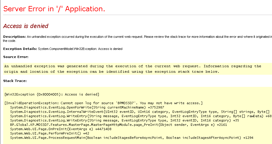 Cannot open log for source My_Web_Part. You may not have write access.