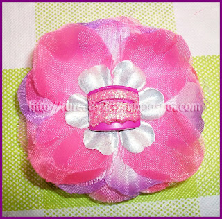Pink cake Luau Flower Hair Bow