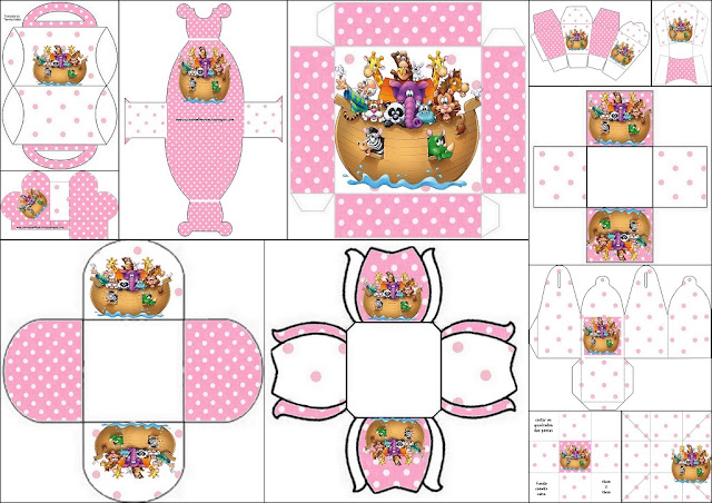 Noah's Ark Girls: Free Printable Boxes.