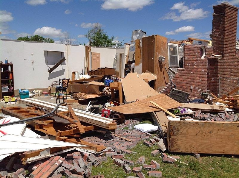 A home destroyed by a tornado that struck Quapaw, Oklahoma on April 27, 2014. New research showing that peak tornado activity in the central and southern Great Plains is occurring earlier could help residents in the region be better prepared for severe weather. (Credit: National Weather Service in Tulsa, Oklahoma) Click to Enlarge.