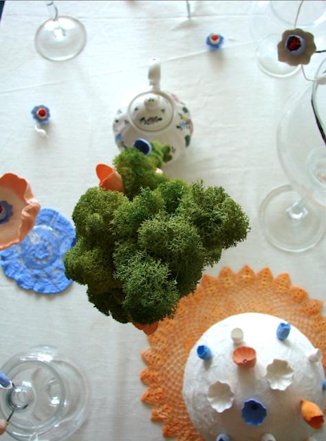 matrimonio green in  stile vittoriano a Roma, centrotavola di fiori di carta