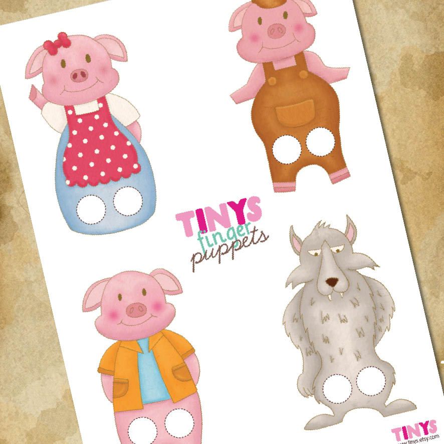 Tinysandtea new item paperdolls and puppets for The three little pigs puppet templates