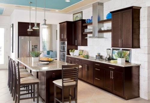espresso kitchen cabinets with white appliances