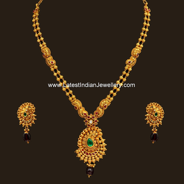 Latest Indian Jewellery Designs 2015: Simple Paisley Pendant Antique Haram