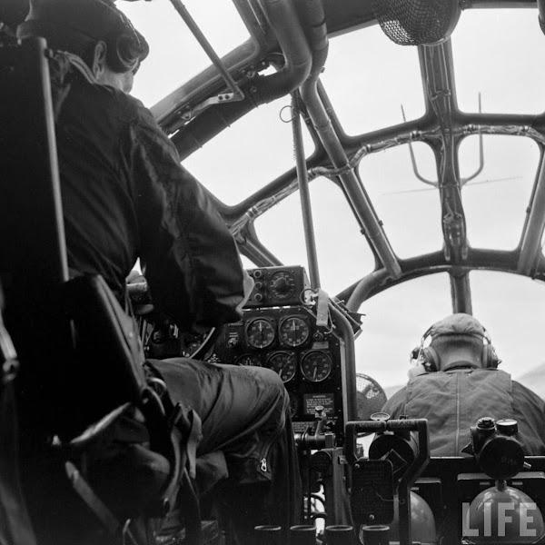 Inside a radio rescue boat, 1952