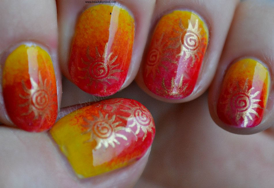 sponging and stamping nail art for short nails