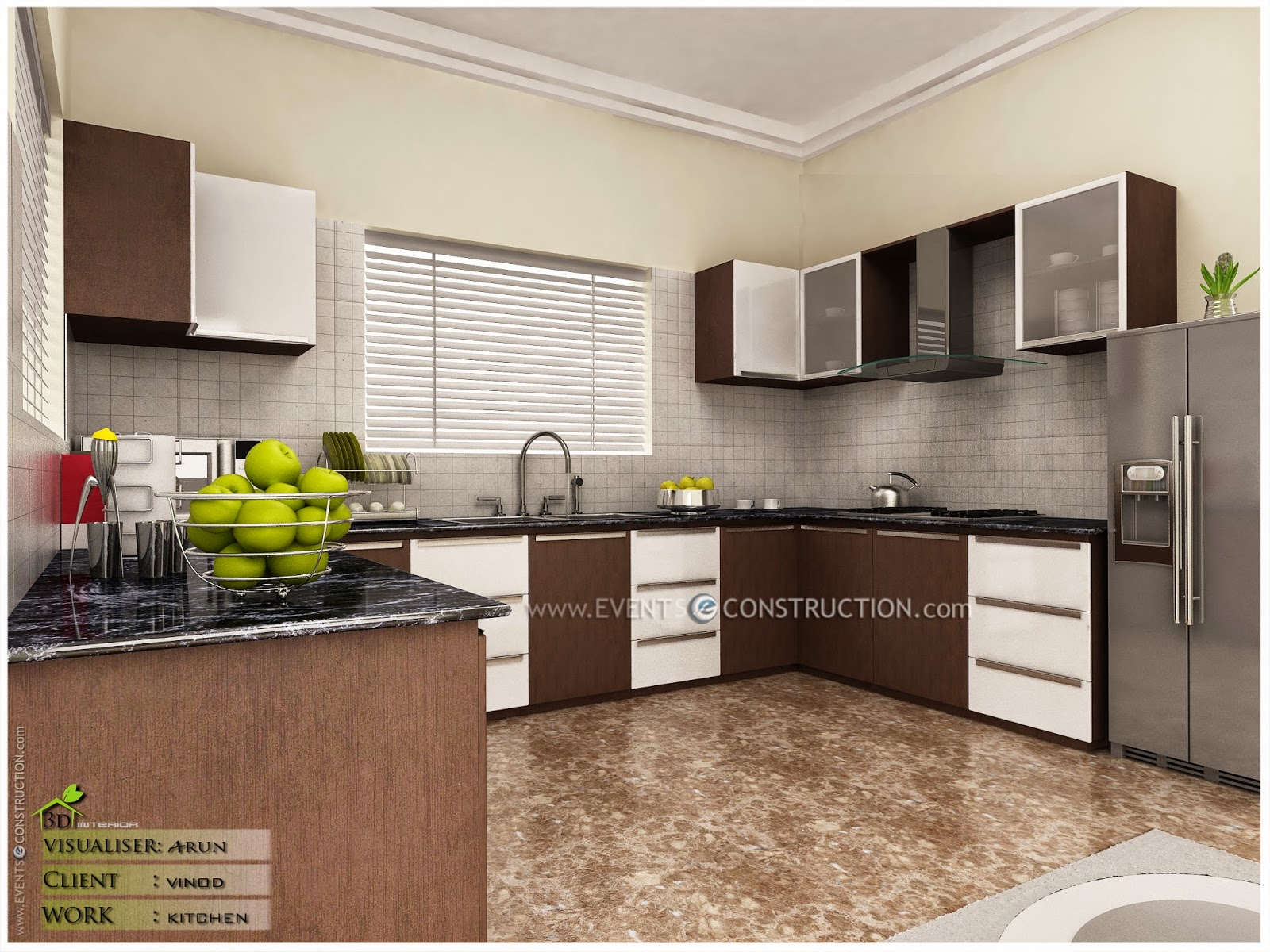 Evens construction pvt ltd modern kerala kitchen interior for Kitchen in modern house