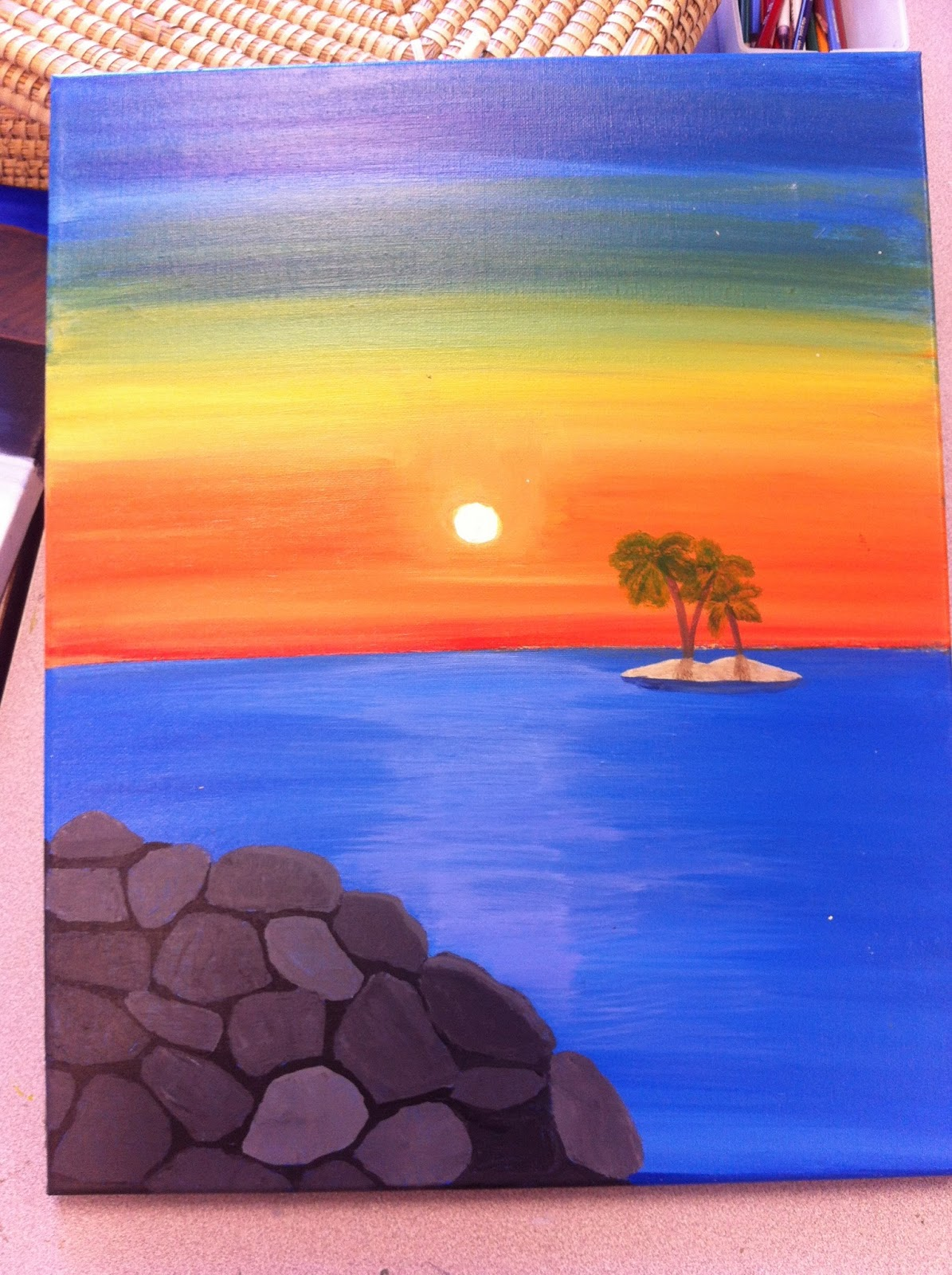 Easy landscape acrylic paintings for beginners for Canvas to paint on