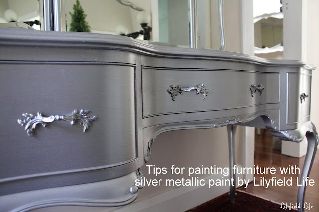 lilyfield life tips on using metallic paint and a silver painted dressing table set. Black Bedroom Furniture Sets. Home Design Ideas